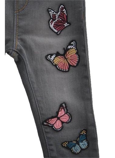 Silversun Kids Koyu Denim Kelebek Nakışlı Kemerli Bebek Kız Kot Pantolon Pc 110396 Lacivert